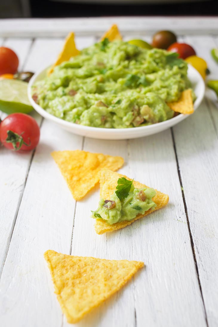 Best Ever Guacamole on tortillas