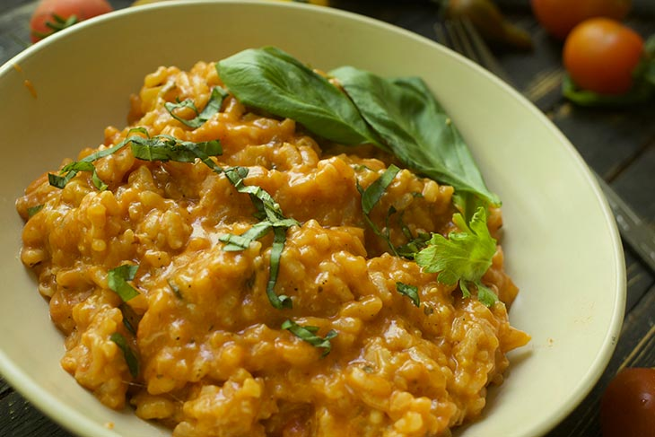 healthy Vegan Roasted Tomato Risotto