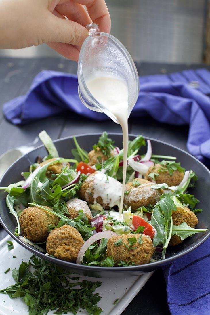 Quinoa Falafel salad with tahini dressing