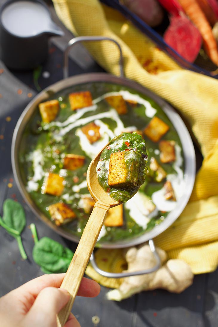 Vegan Palak Paneer spinach recipe