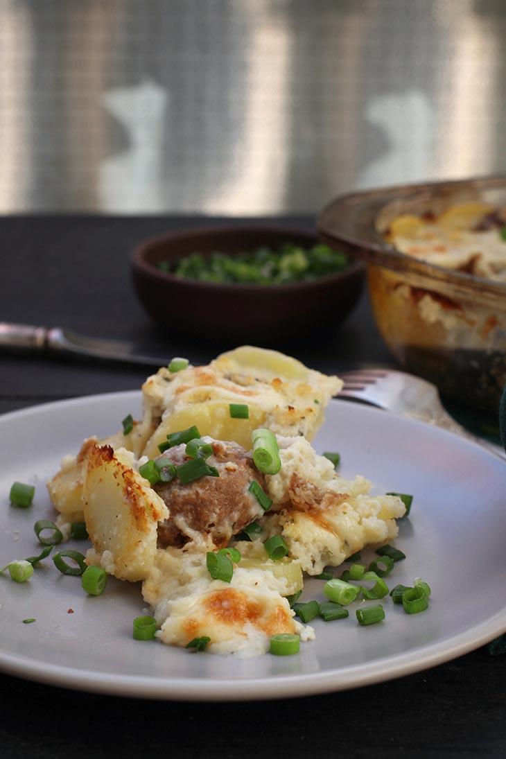 cum sa faci caserola de chiftelute vegetale cu cartofi