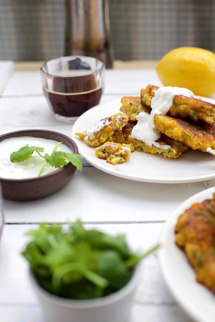 corn fritters with sauce