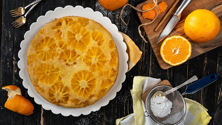 Orange Upside Down Cake Prajitura rasturnata cu portocale