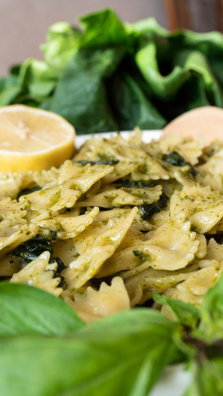 Vegan Lemony Pesto Farfalle Pasta