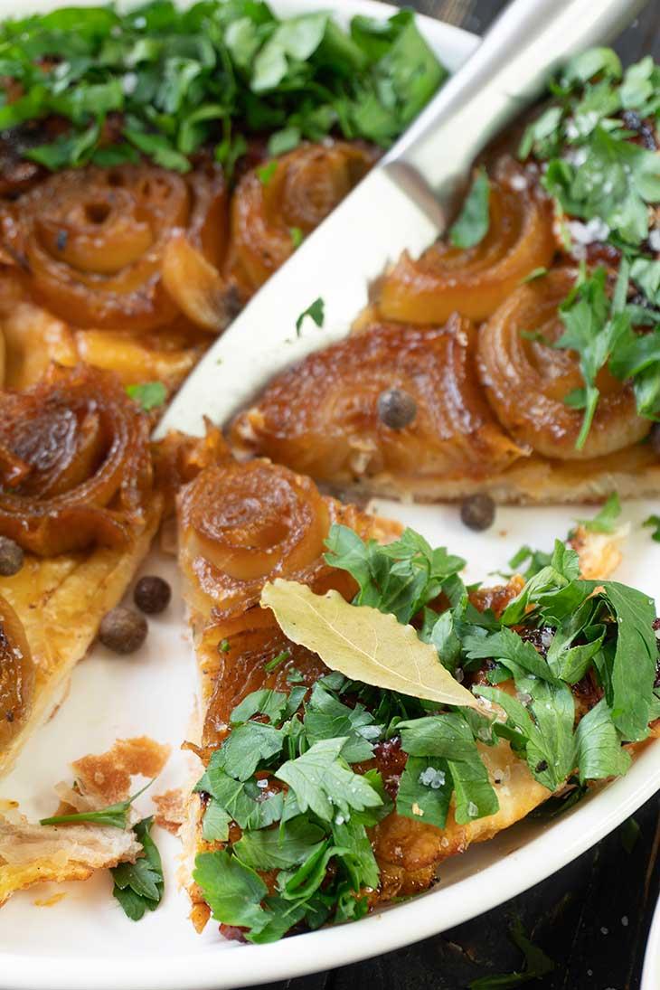 Vegan Onion Tart slice