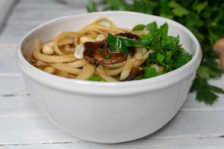 Vegan Udon Soup Asian Noodles Recipe