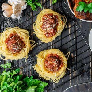 Spaghetti 'Meatball' Cups