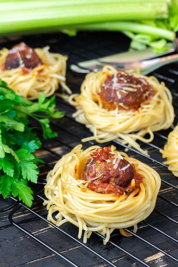 Spaghetti 'Meatball' Nests