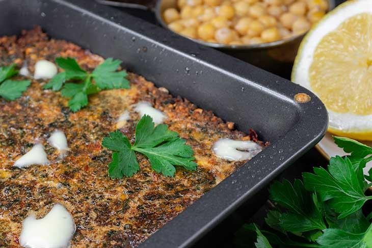baked falafel in a pan