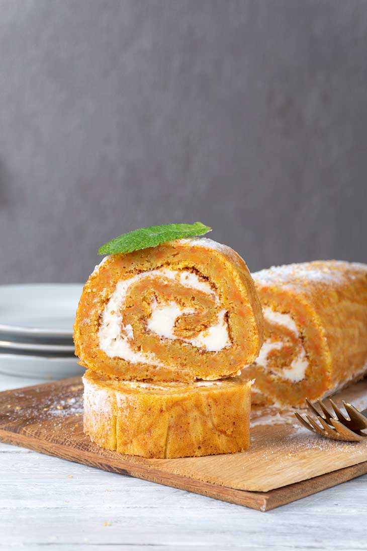 Sweet Carrot Cake Swiss Roll