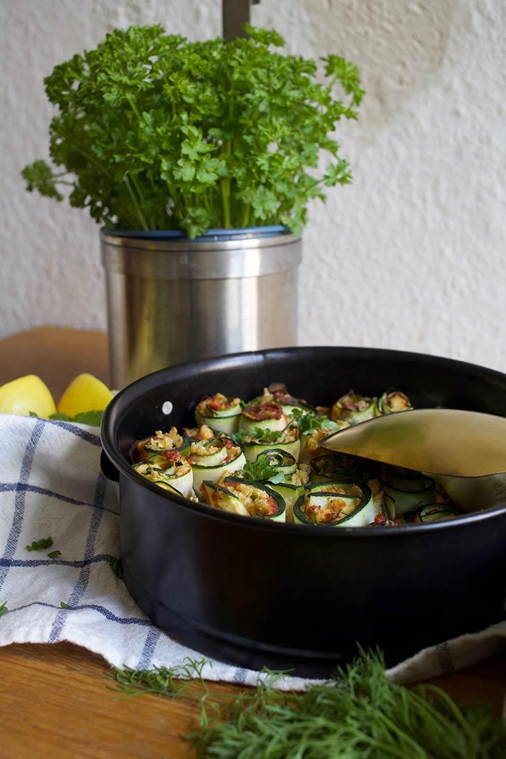 Vegan Zucchini Rollups with tofu