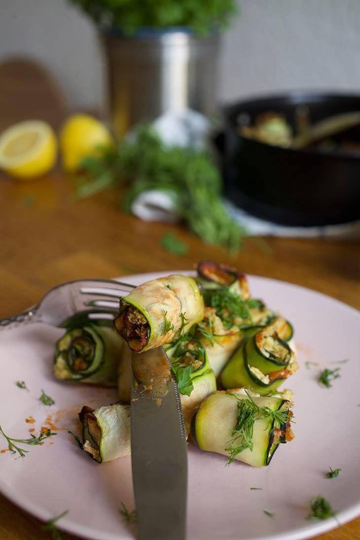 Zucchini Rollups Vegan Recipe Rulouri cu dovlecei