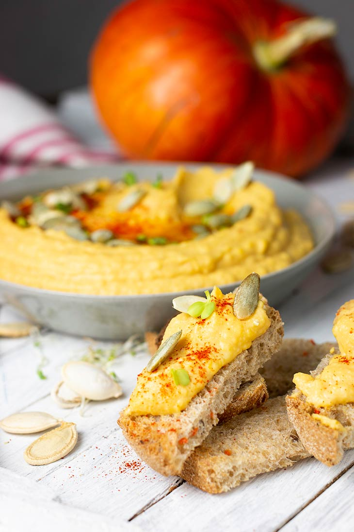 Pumpkin Hummus on Bread