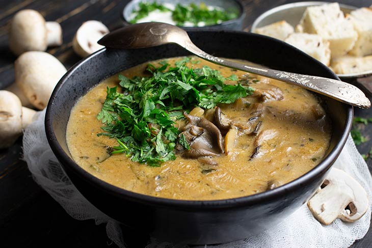 Mixed Mushroom Soup with coconut