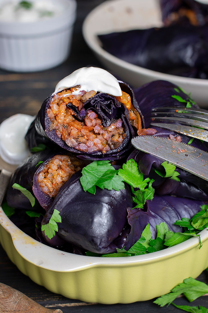 Stuffed Red Cabbage Rolls Dolmas sarmale cu varza rosie reteta