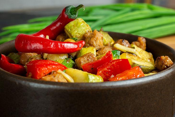 Vegan Kung Pao Chick'n asian recipe