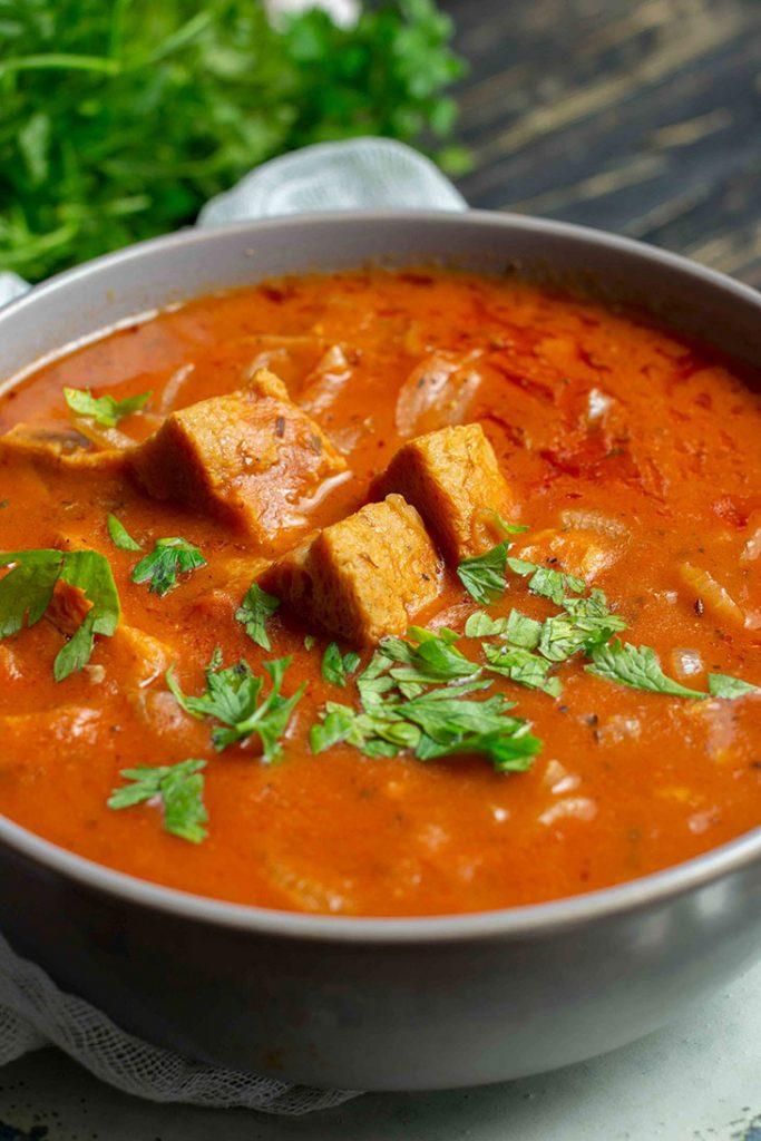 Vegan goulash soup comfort food