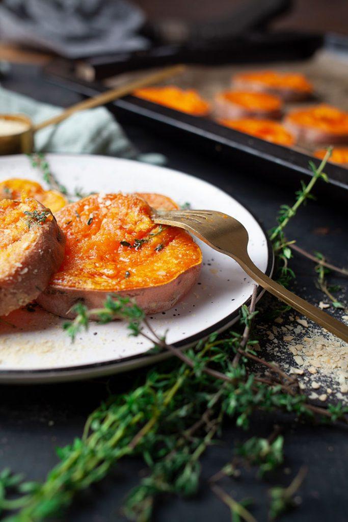 Garlicky Smashed Sweet Potatoes Vegan Side Dish