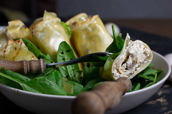 Rulouri de lasagna cu ciuperci reteta