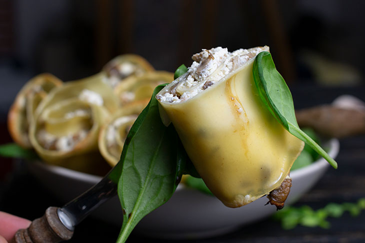 Mushroom Lasagna Roll-ups Vegan Recipe