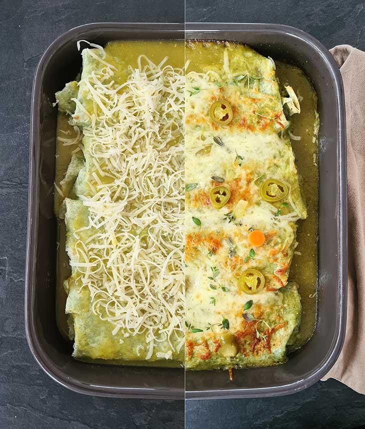 Enchiladas cu salsa verde inainte dupa