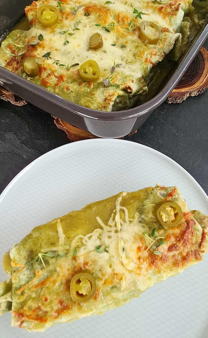 Enchiladas cu salsa verde reteta vegana