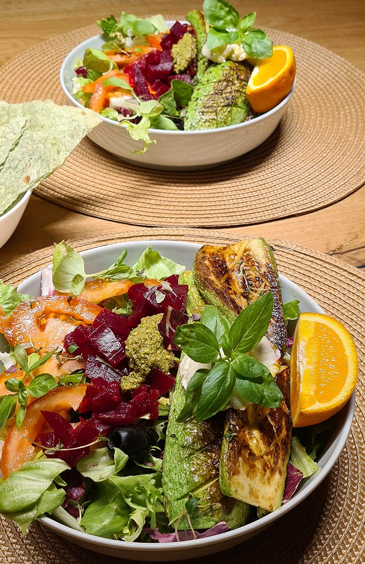Grilled Zucchini and Beetroot Salad Vegan