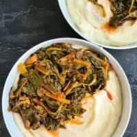 collard greens stew with mashed potatoes stufat