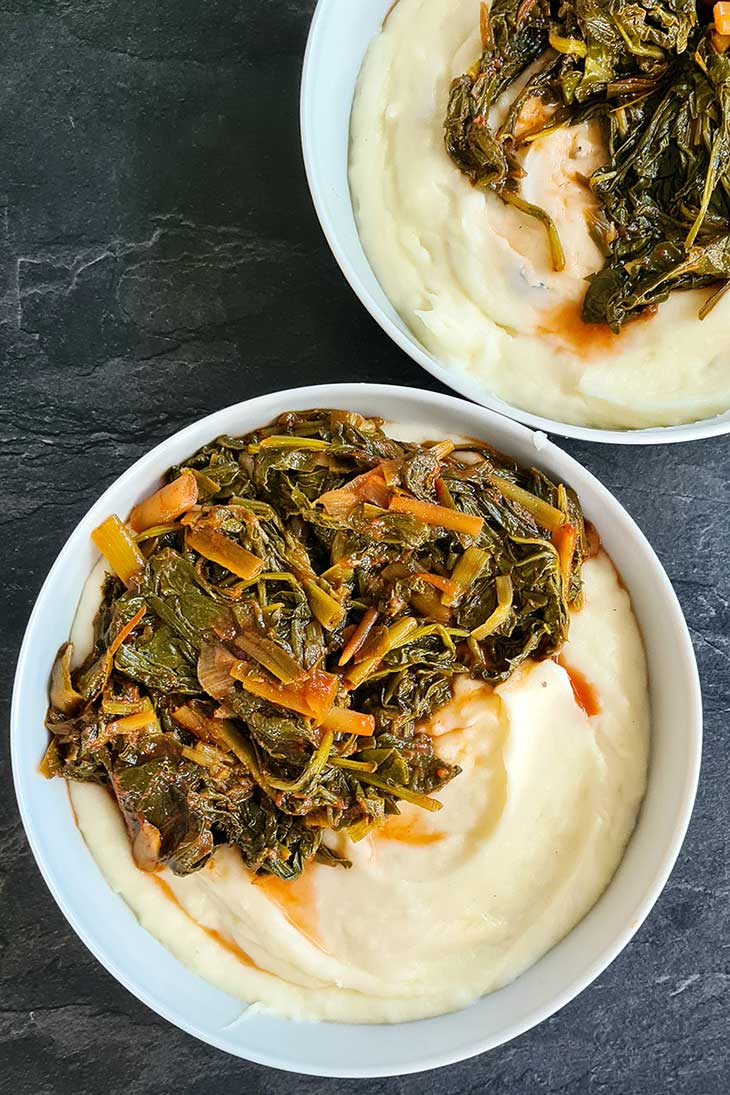 collard greens stew with mashed potatoes