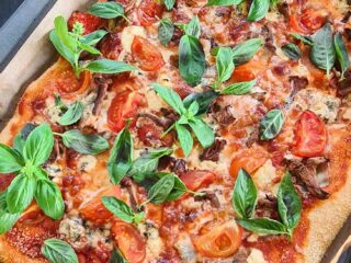 Artichoke mushroom homemade pizza