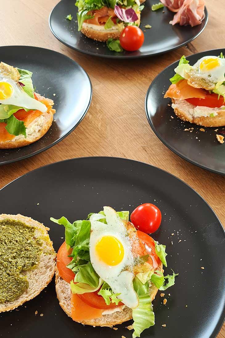 Egg brioche with salmon or cream cheese pesto