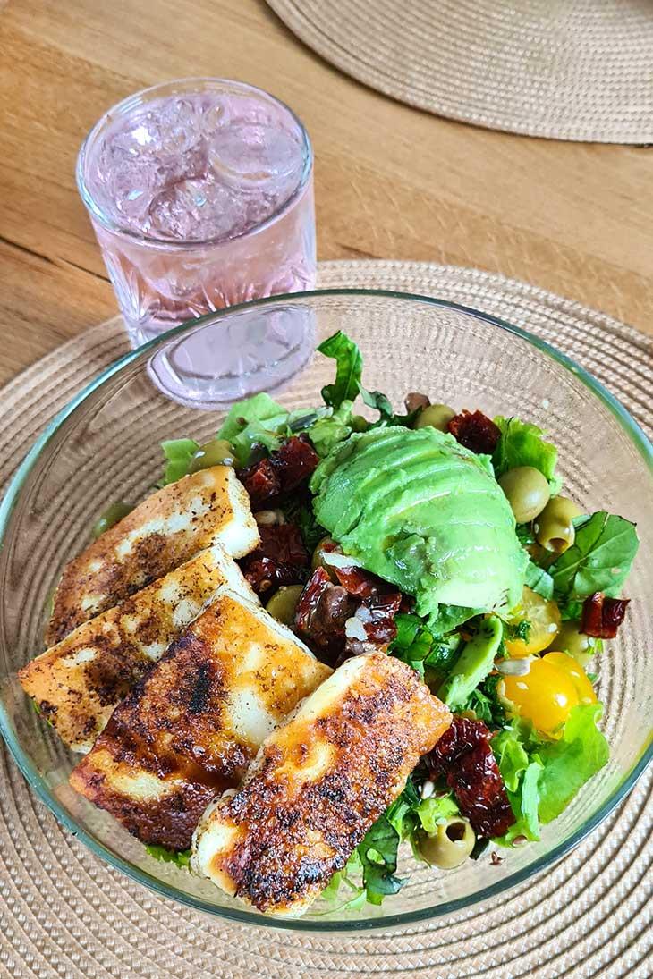 best grilled halloumi salad summer