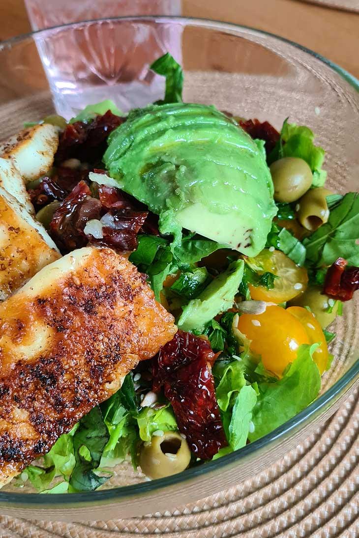 best grilled halloumi salad vegetarian recipe