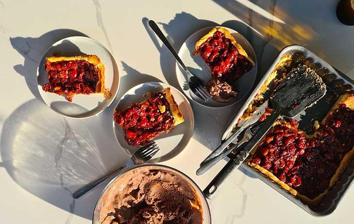 sour cherry tart with homemade dough