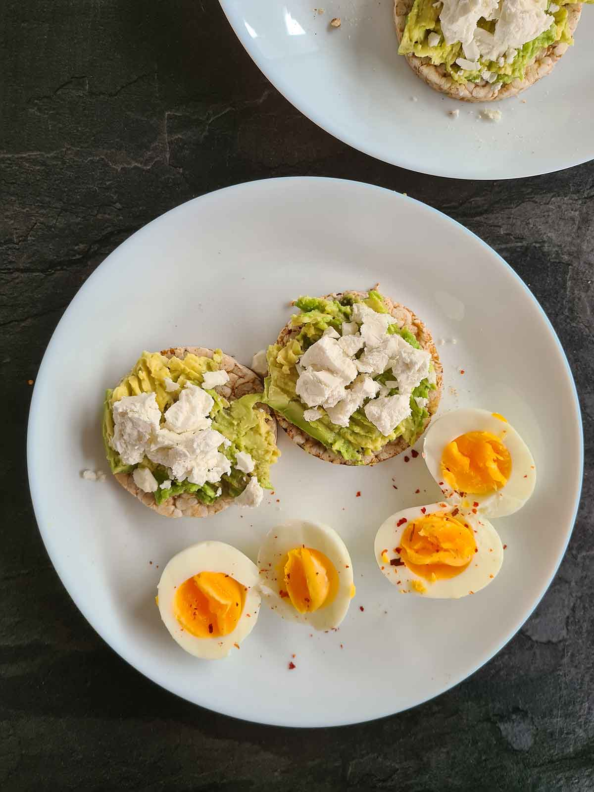 avocado toast on rice cake breakfast