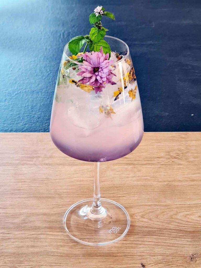 floral gin lemonade cocktail